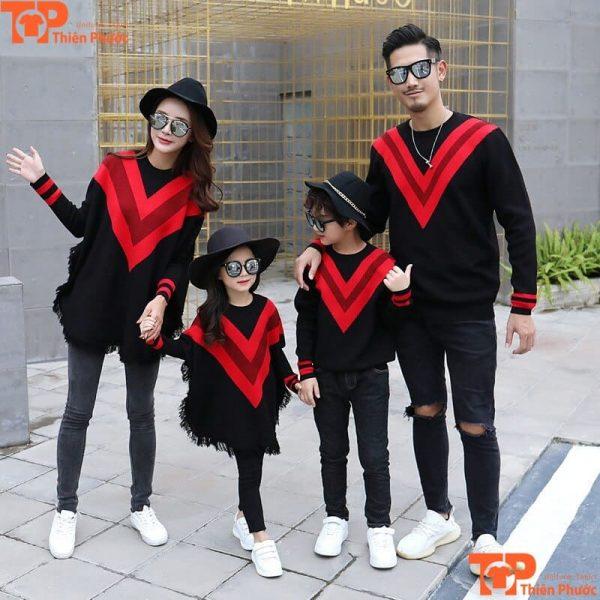 áo thun tay dài gia đình đi chơi 4 người