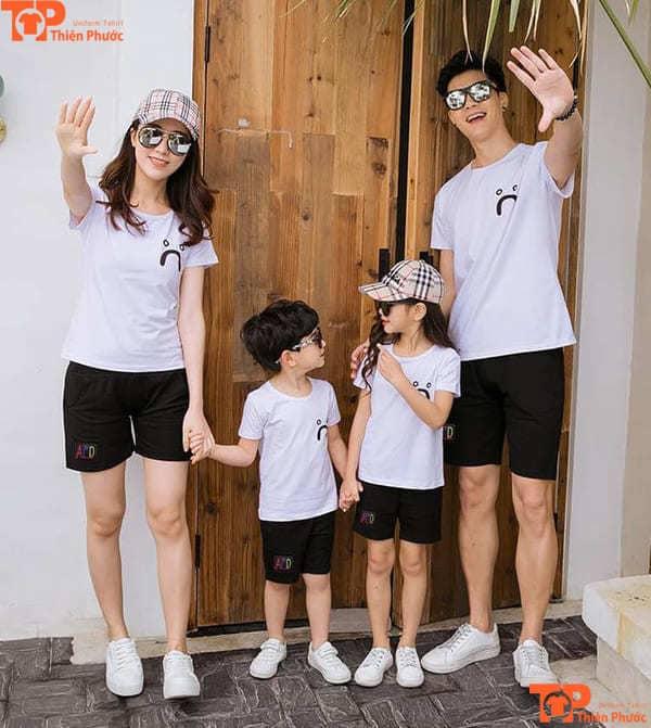 áo thun trơn gia đình đồng phục