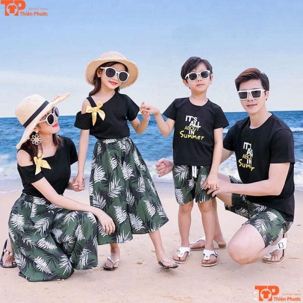áo váy gia đình đi biển nhiều màu