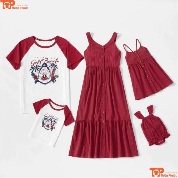 áo váy gia đình đi chơi