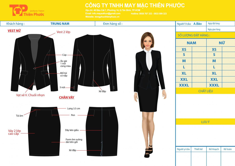 đặt may mẫu thiết kế áo vest đồng phục văn phòng cong sở nữ