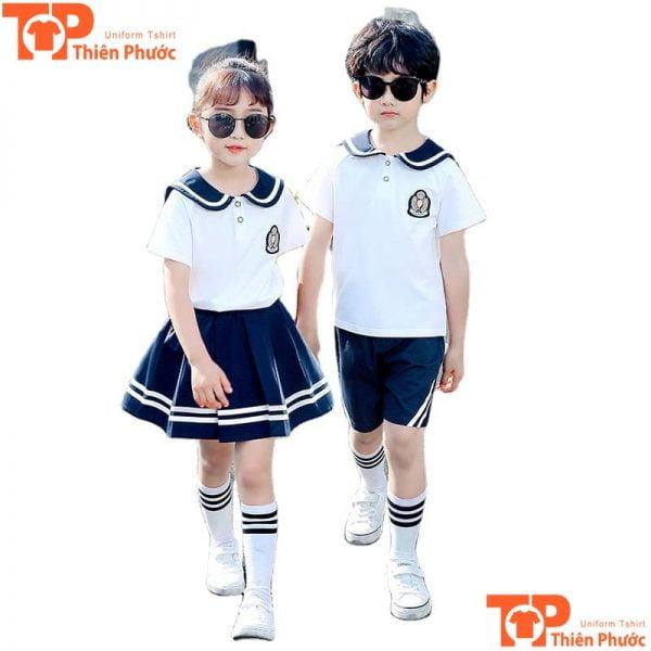 bộ đồng phục học sinh mầm non trắng đen