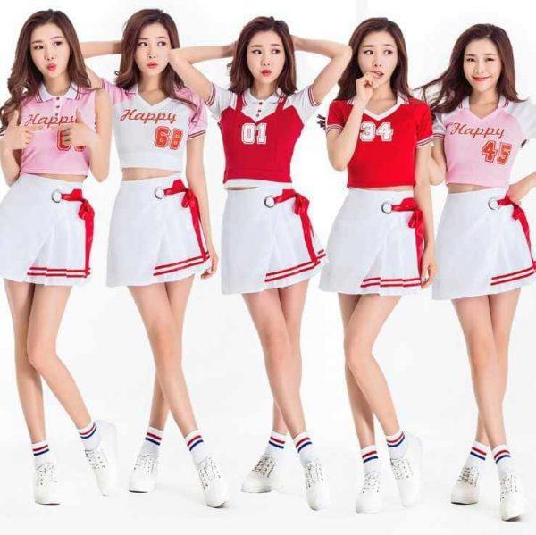 bộ đồng phục thể thao cổ động màu trắng đỏ hồng
