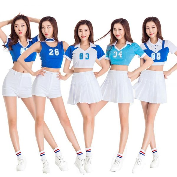 bộ đồng phục thể thao cổ vũ màu trắng xanh