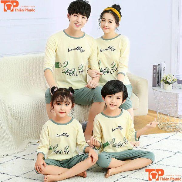 bộ pijama gia đình tay dài mặc tại nhà
