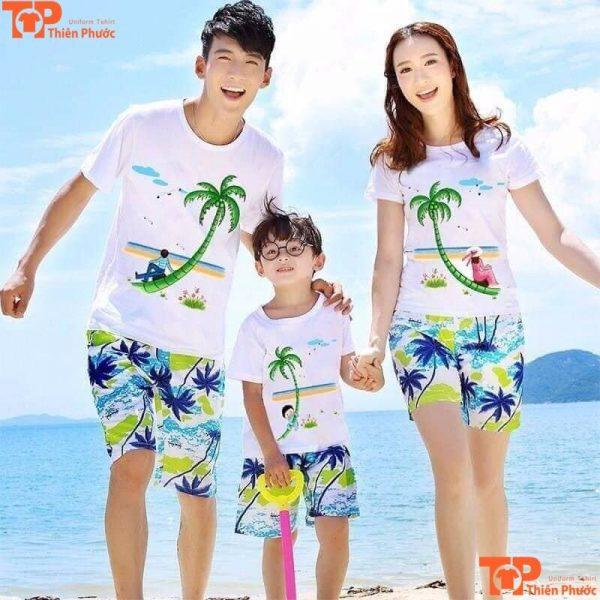 bộ quần áo gia đình đi biển 3 người