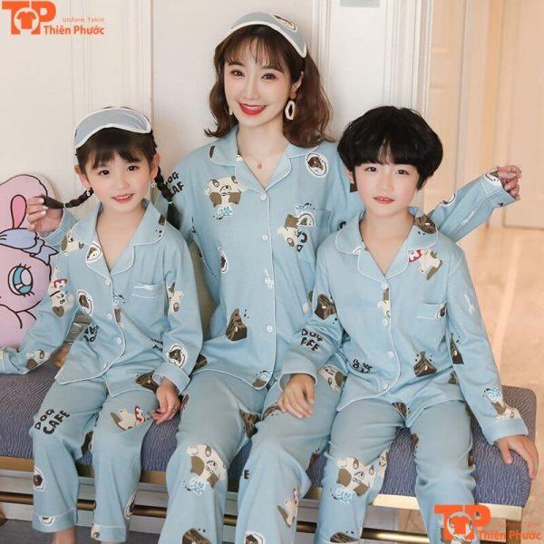 bộ quần áo gia đình mặc tại nhà dễ thương