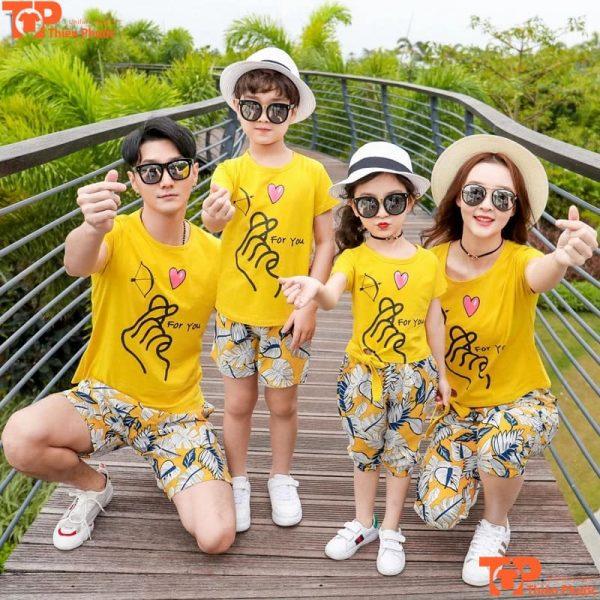 bộ quần áo gia đình tay ngắn cổ tròn