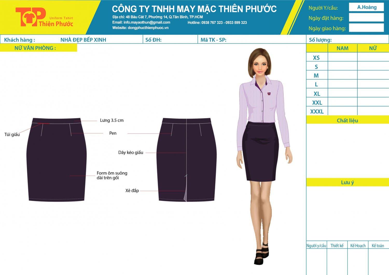 đặt may mẫu thiết kế chân váy đồng phục văn phòng nữ