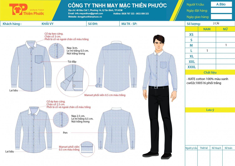 đặt may mẫu thiết kế đồng phục công sở áo sơ mi nam