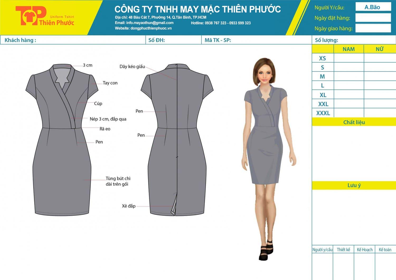 đặt may mẫu thiết kế đồng phục đầm văn phòng cong sở