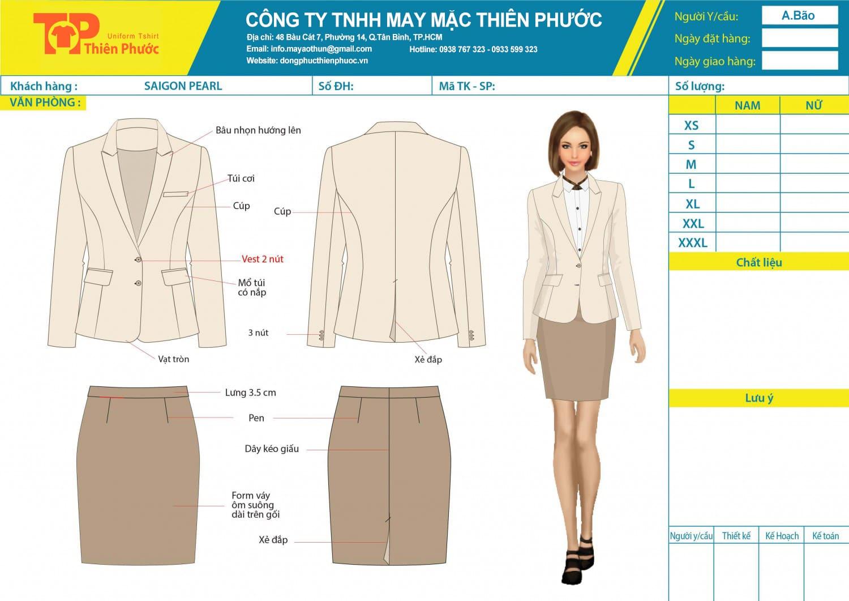 đặt may mẫu thiết kế vest chân váy văn phòng nữ