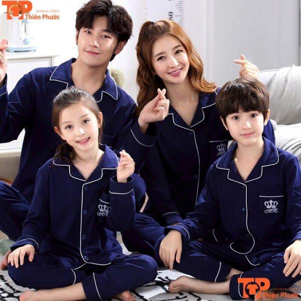 đồ bộ gia đình màu đen tay dài