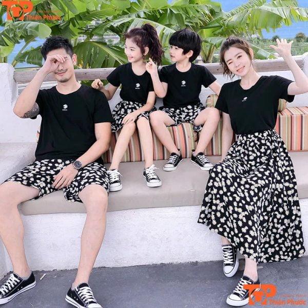 đồ bộ gia đình mùa hè màu đen