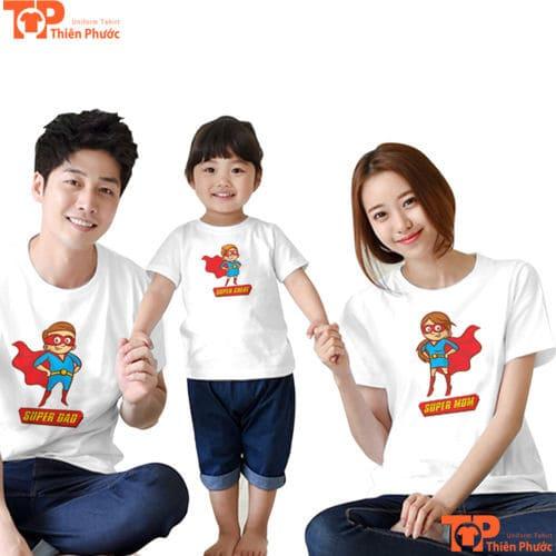 đồng phục áo gia đình màu trắng tay ngắn