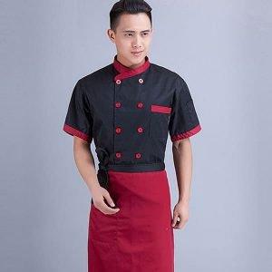 đồng phục bếp màu đỏ