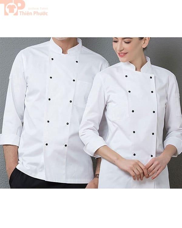 Đồng phục bếp màu trắng nút đen