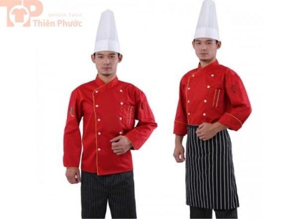 đồng phục bếp may sẵn màu đỏ