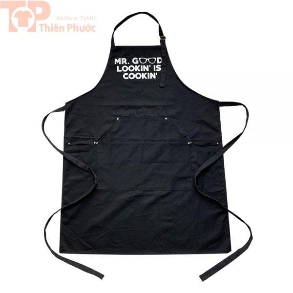 Đồng phục bếp phối tạp dề màu đen