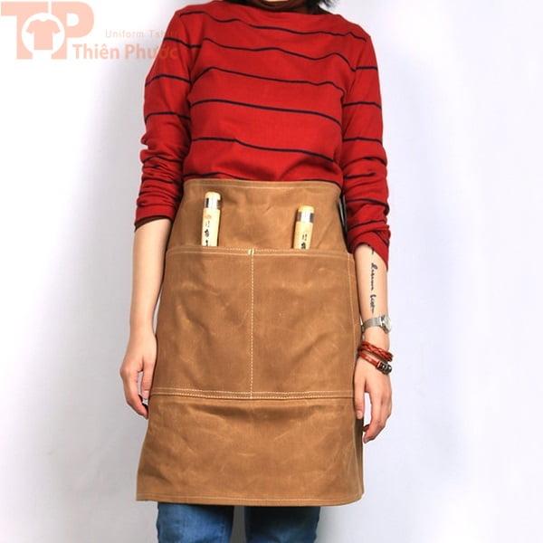 Đồng phục bếp tạp dề màu nâu