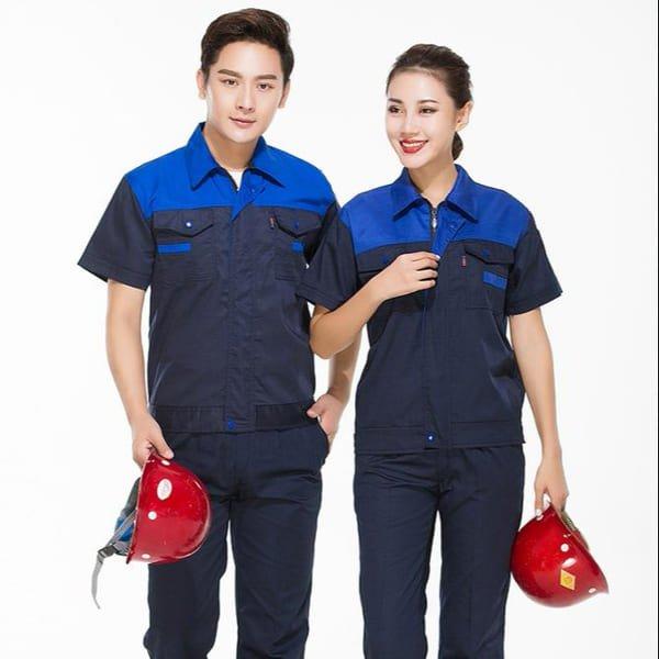 đồng phục công nhân cơ khí màu xanh có mũ