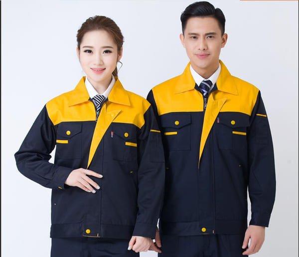 đồng phục công nhân cơ khí màu xanh