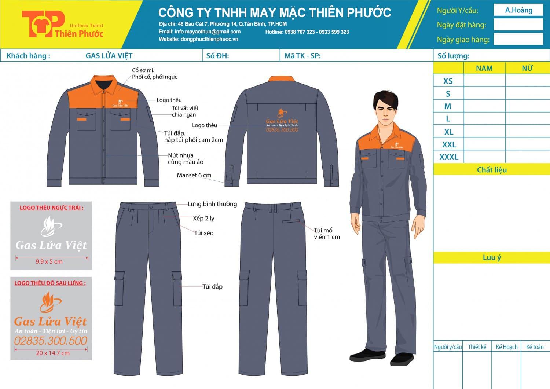 mẫu thiết kế đồng phục công ty gas lửa việt