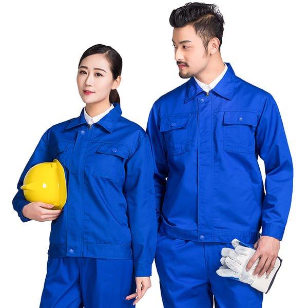đồng phục công nhân xây dựng màu xanh có mũ