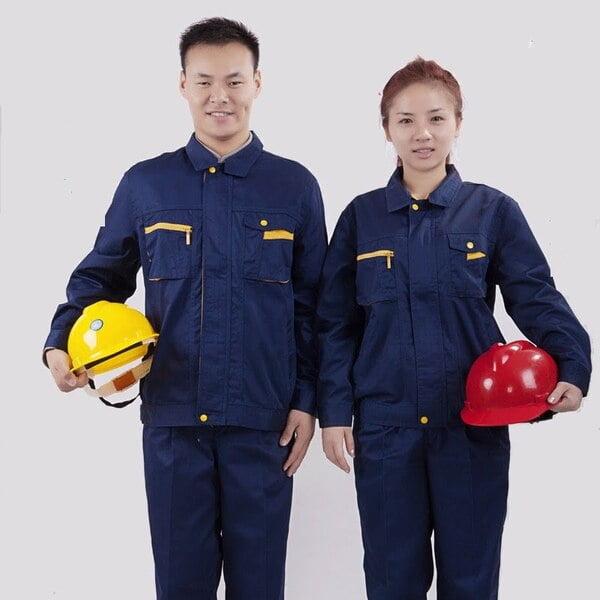 đồng phục công nhân xây dựng màu xanh đậm có mũ