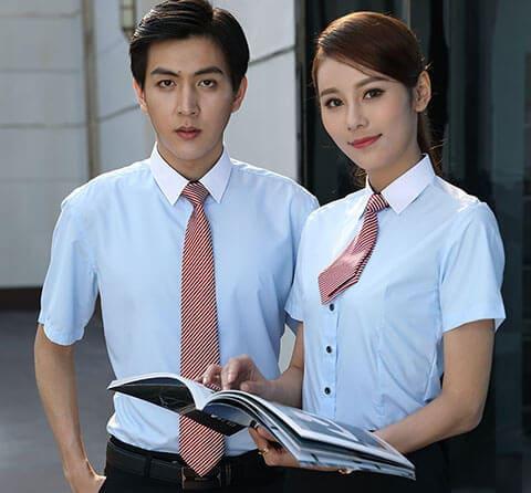 mẫu áo đồng phục công sở có cổ tay ngắn
