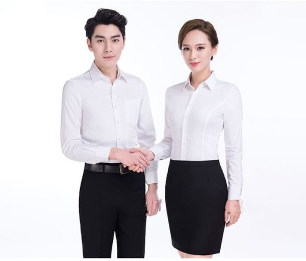 mẫu áo sơ mi đồng phục nhân viên công sở đẹp tay dài