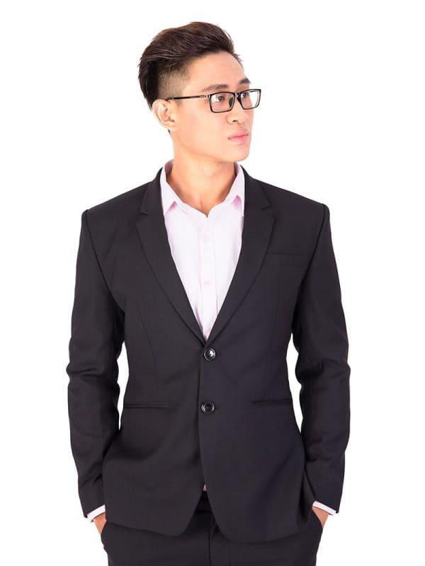 đồng phục công cở nam áo vest đen hai cúc