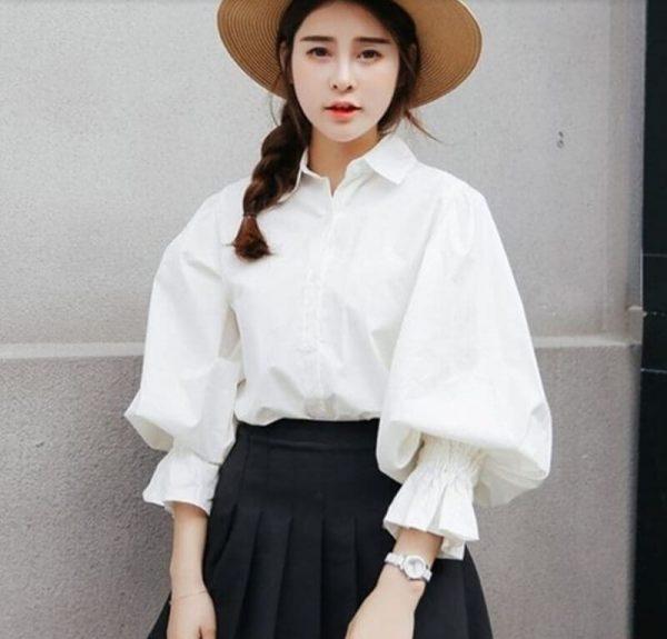 đồng phục công sở nữ áo sơ mi tay bồng