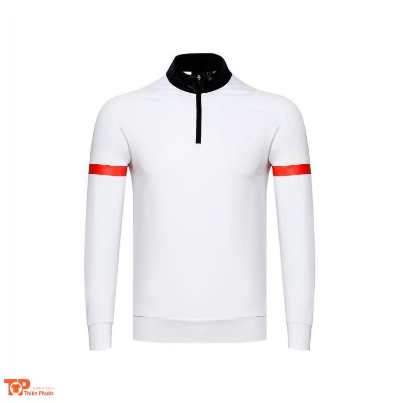 đồng phục công ty nam áo thun dài tay màu trắng