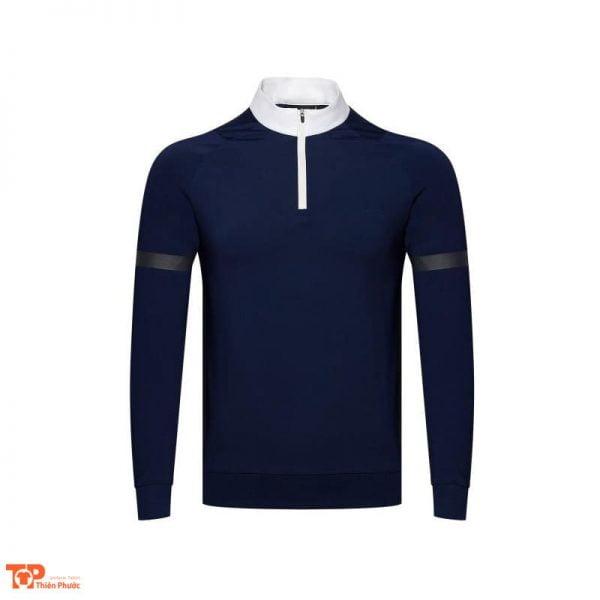 đồng phục công ty nam áo thun dài tay màu xanh đen