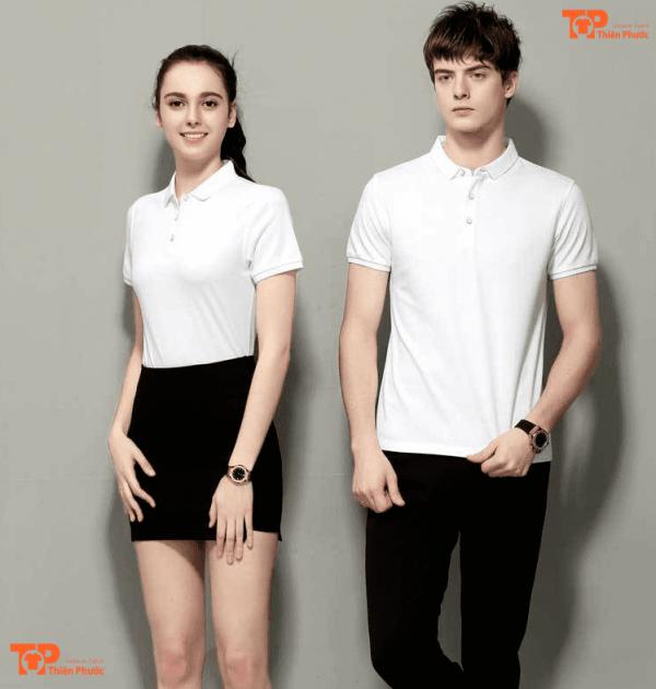 đồng phục công ty nam nữ màu trắng