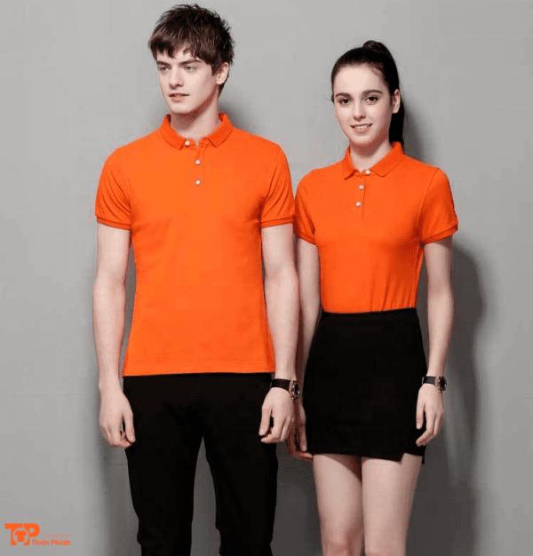 đồng phục công ty nữ nam màu cam