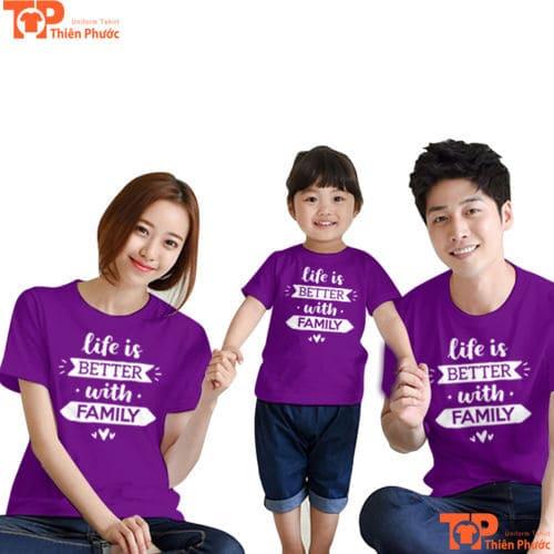 đồng phục gia đình 3 người màu tím
