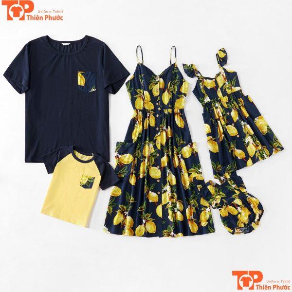 đồng phục gia đình áo váy màu đen vàng