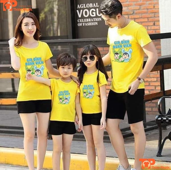 đồng phục gia đình mùa hè màu vàng tay ngắn
