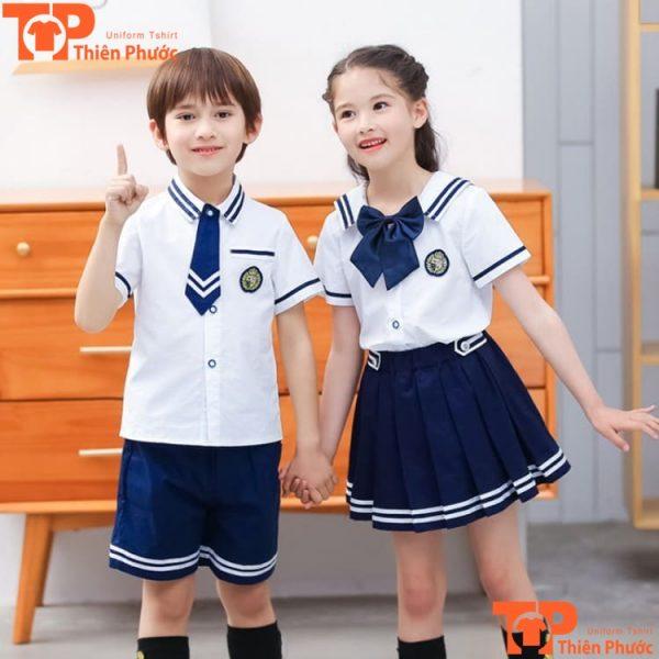 đồng phục mầm non áo sơ mi trắng tay ngắn