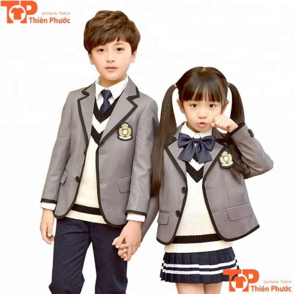 đồng phục mầm non áo vest màu xám hiện đại