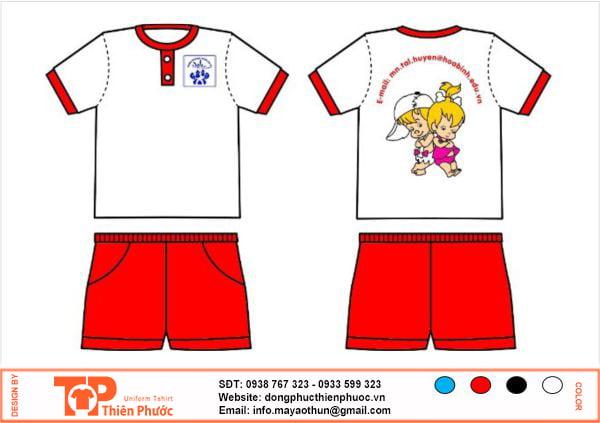 đồng phục mầm non đỏ trắng