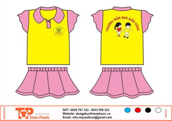 đồng phục mầm non nữ vàng hồng