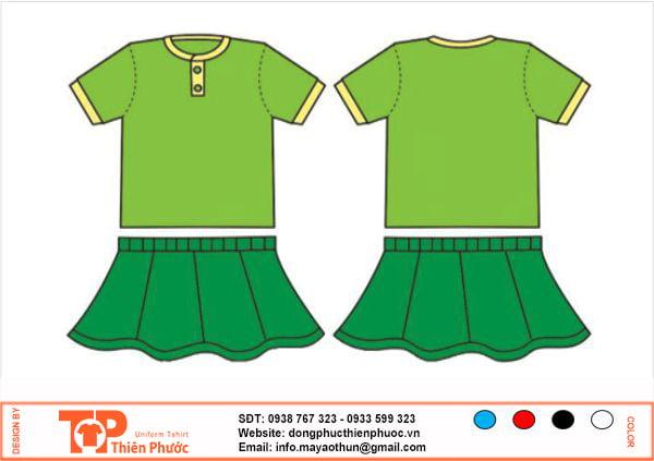 đồng phục mầm non nữ váy xanh