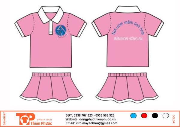 đồng phục mầm non váy hồng