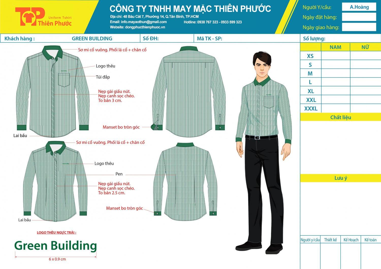 mẫu thiết kế đồng phục nam công ty green building