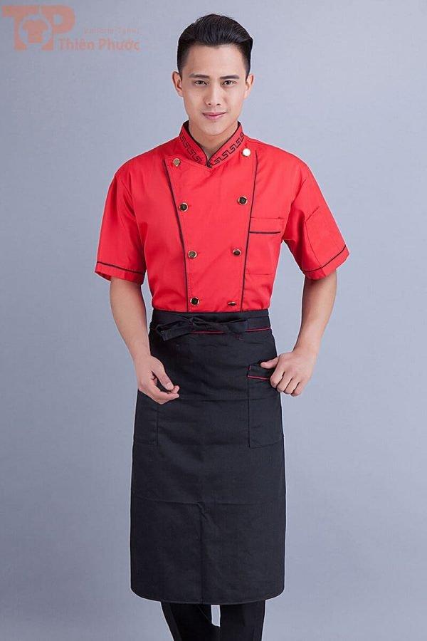 Đồng phục bếp nam màu đỏ