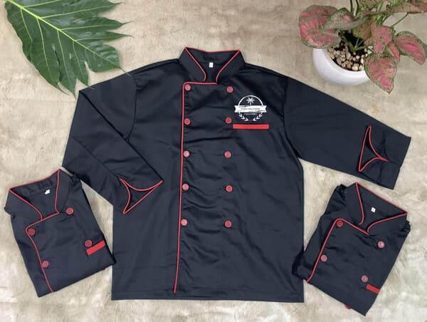 đồng phục nhà bếp màu đen tay dài