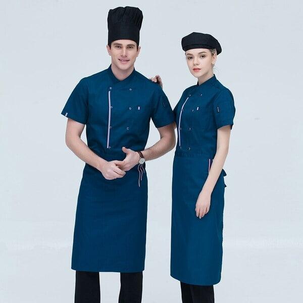 đồng phục nhà bếp màu xanh